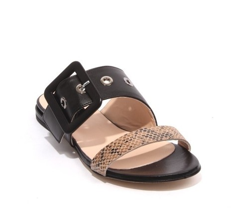 Multicolor Leather Buckle Slides Flat Sandals