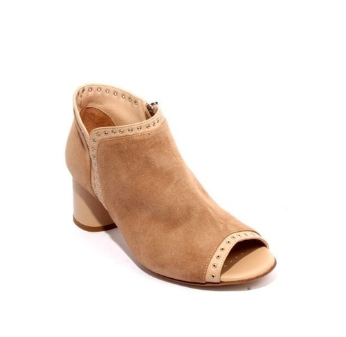 Beige Suede Leather Zip Studded Summer Heel Booties
