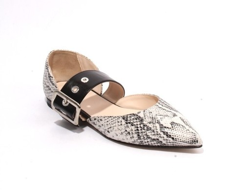Multicolor Animal Print Leather Pointed Toe Flat Shoes