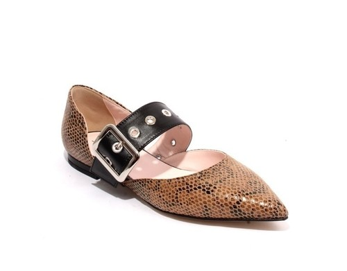 Multicolor Animal Print Leather Pointy Flat Shoes