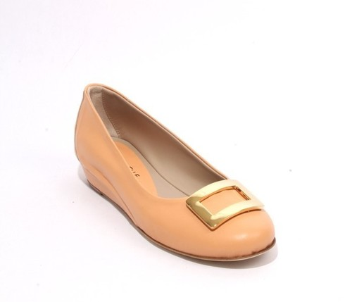 Light Orange Leather Comfort Buckle Wedge Shoes