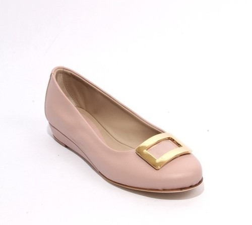 Dusty Rose Leather Comfort Buckle Wedge Shoes