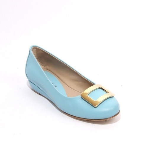 Aquamarine Blue Leather Comfort Buckle Wedge Shoes