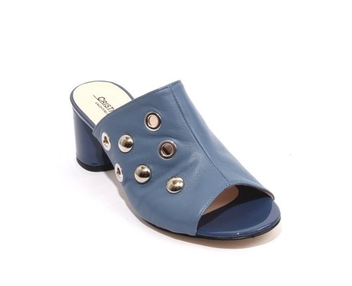 Navy Leather Studded Slides Open Toe Heel Sandals