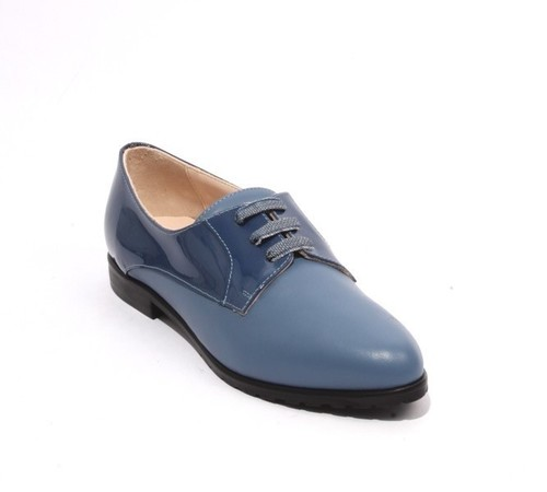 Blue Leather Patent Lace-Up Loafers Comfort Shoe