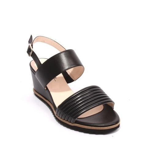 Black Leather Platform Wedge Sandals