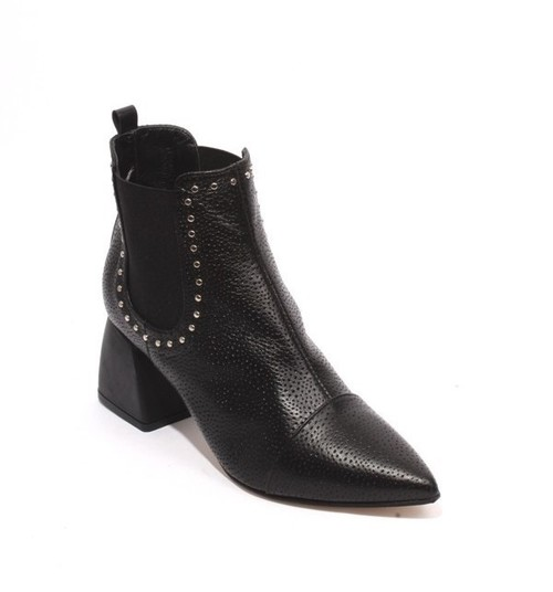Black Leather Elastic Pointy Toe Ankle Heel Boots