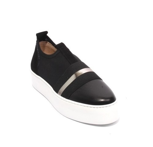 Black Leather Elastic Mesh Platform Sneaker Shoes