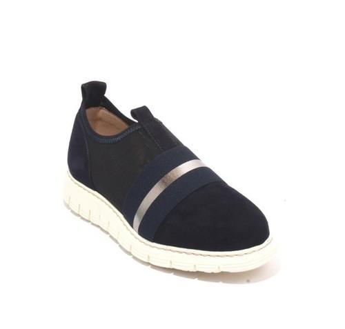 Navy Suede Leather Elastic Mesh Platform Sneaker