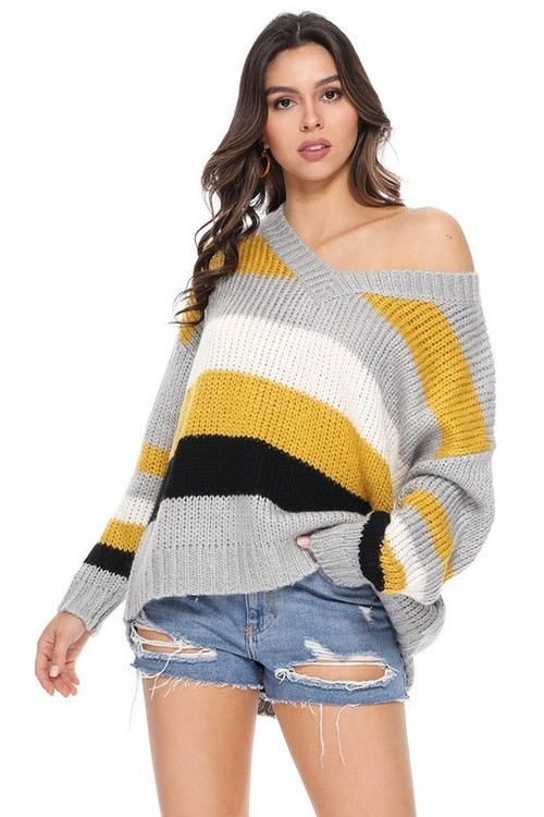 Color Block V Neck Sweater