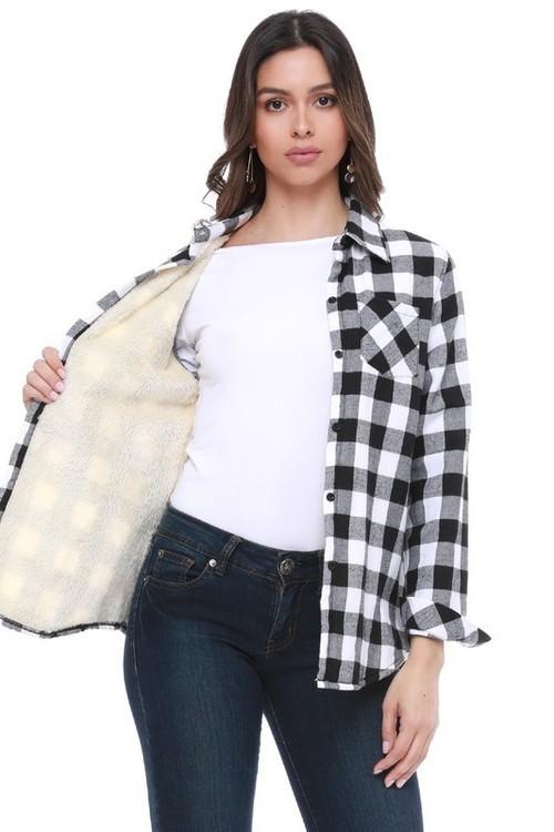 Fur Lined Plaid Flannel White