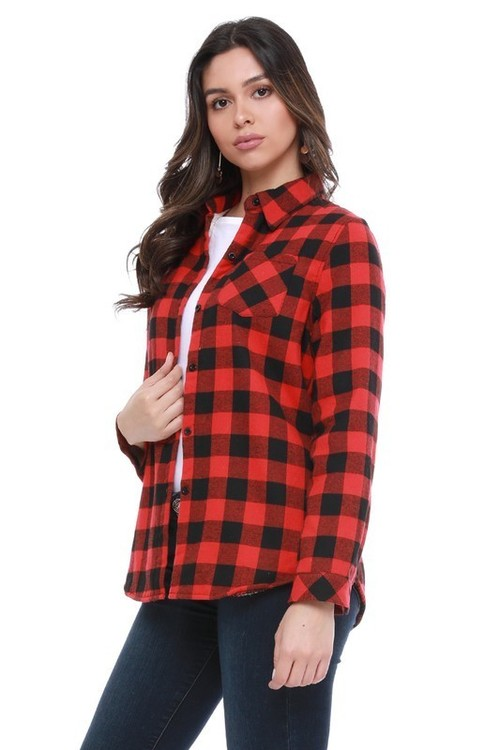 Fur Lined Plaid Flannel Red