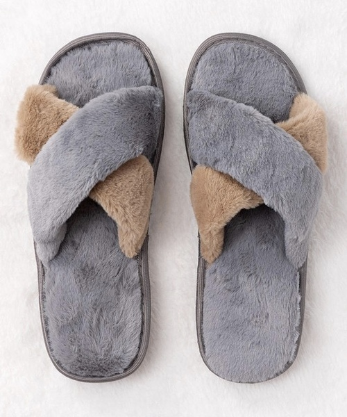 Cross Over Rubber Sole Slipper Grey