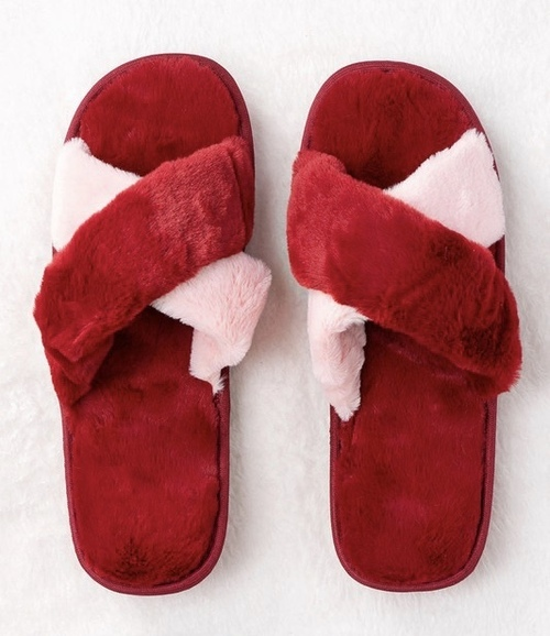 Cross Over Rubber Sole Slipper Red