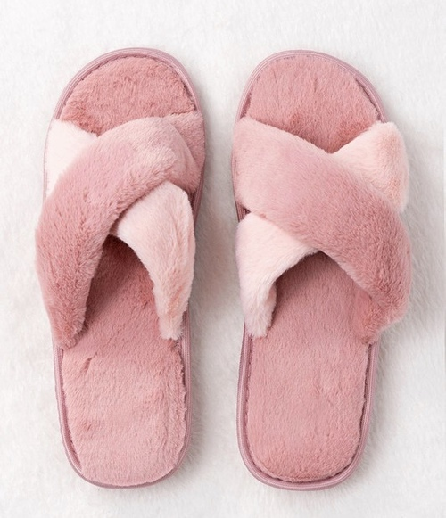 Cross Over Rubber Sole Slipper Pink