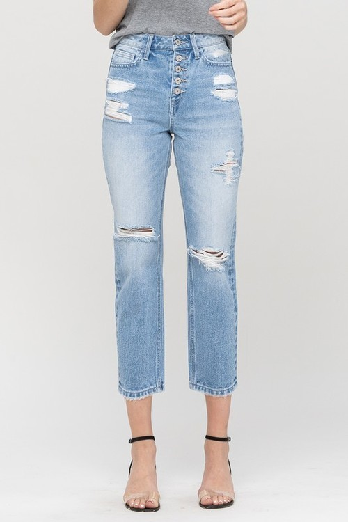 Belvoir High Rise Distressed Straight Jean