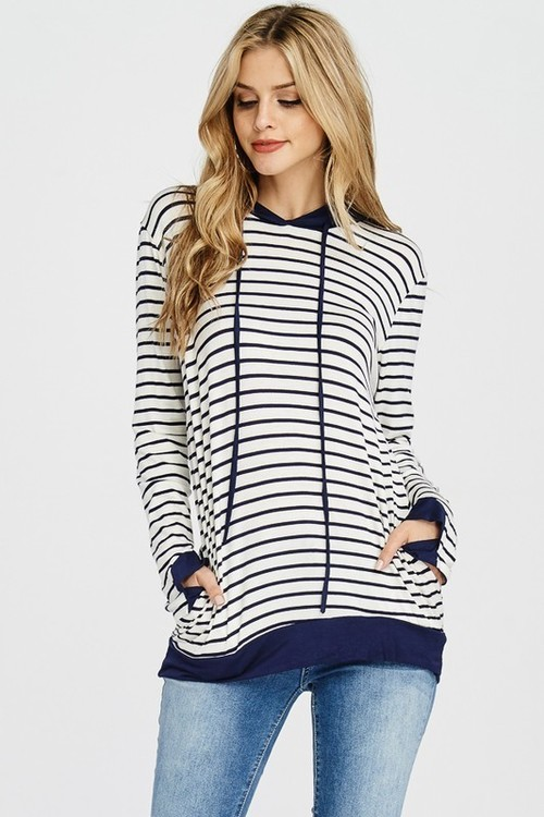 Navy Striped Hoodie with Pockets