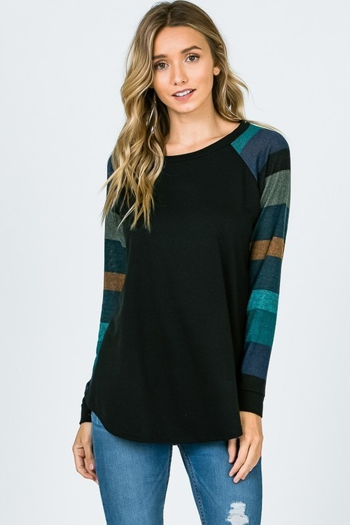 Jade Contrast Stripe Sleeve Top