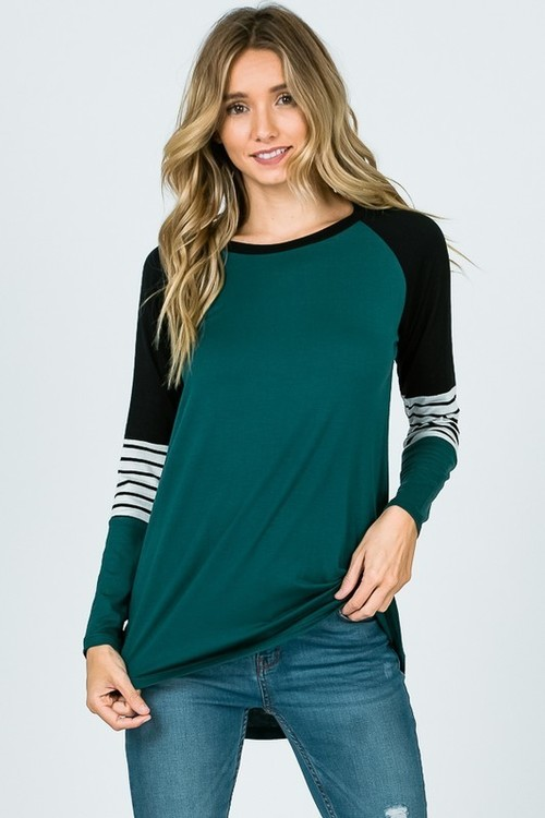 Hunter Green Color Block Long Sleeve