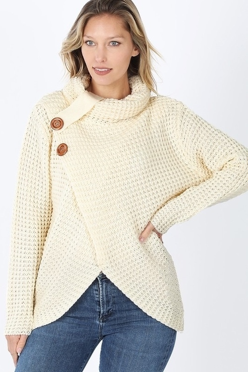 Tulip Front Wooden Button Sweater