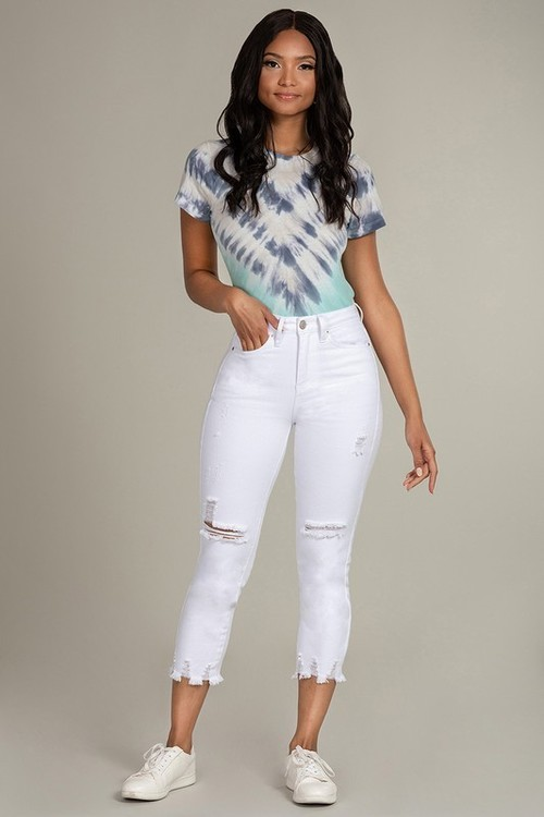 High Rise Dream Fit Ankle Distressed White Jean