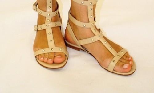 Beige Leather Studded Amazon Gladiators