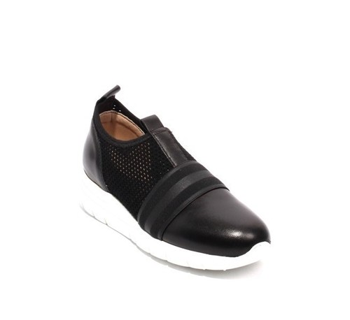 Black Leather Elastic Mesh Platform Sneaker Shoes