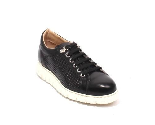 Black White Leather Lace-Up Platform Sneaker