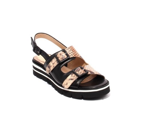 Multicolor Leather Buckle Platform Sandals