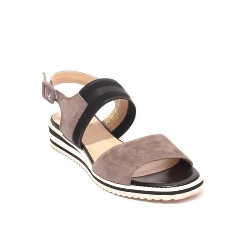 Gray Black Suede Leather Elastic Platform Sandals