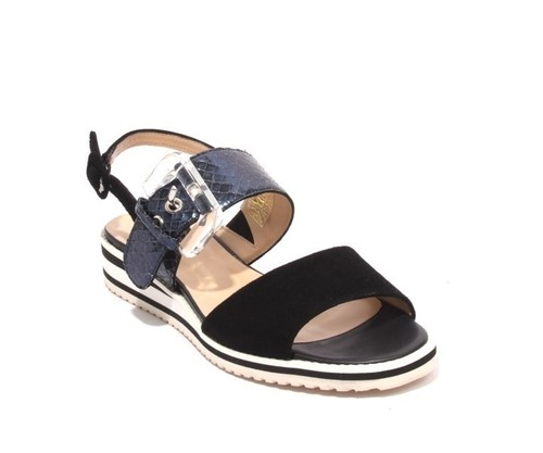 Navy Black Suede Leather Buckle Platform Sandals
