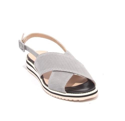 Gray Black Suede Leather Platform Sandals