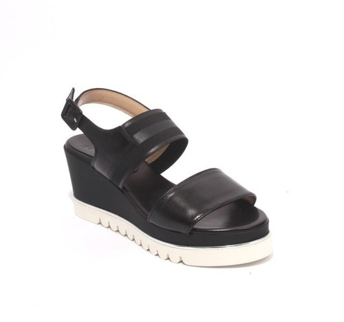 Black White Leather Elastic Platform Wedge Sandals