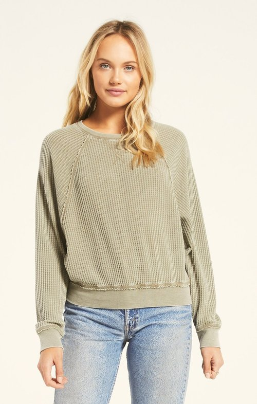 Washed Olive Claire Waffle Long Sleeve