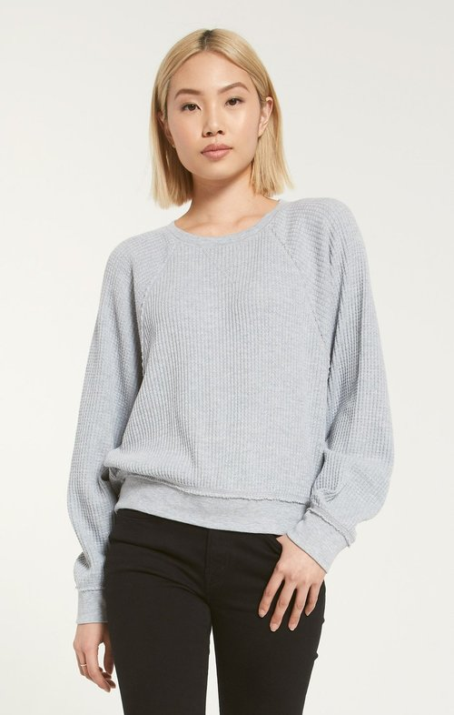 Heather Grey Claire Waffle Long Sleeve