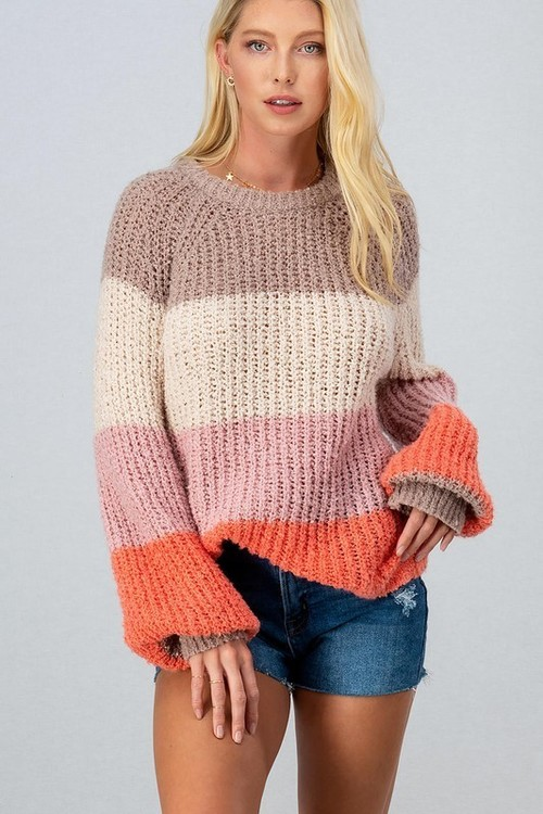 Color Block Knit Puff Sleeve Sweater