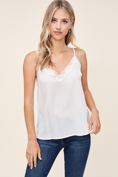 Lace Trimmed V-Neck Solid Tank Ivory