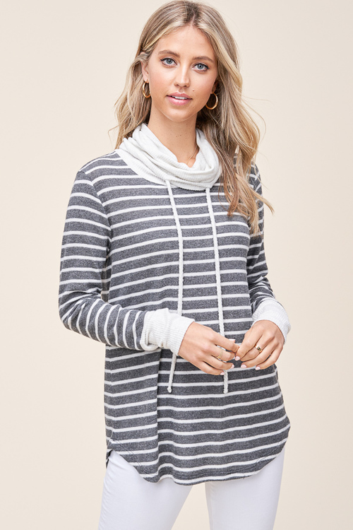 Brushed Stripe Drawstring Cowl Neck Top