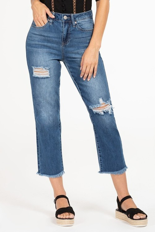 High Rise Dream Fit Ankle Distressed Blue Jean Blue
