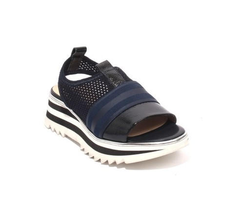 Navy Patent Leather Elastic Mesh Platform Sandals