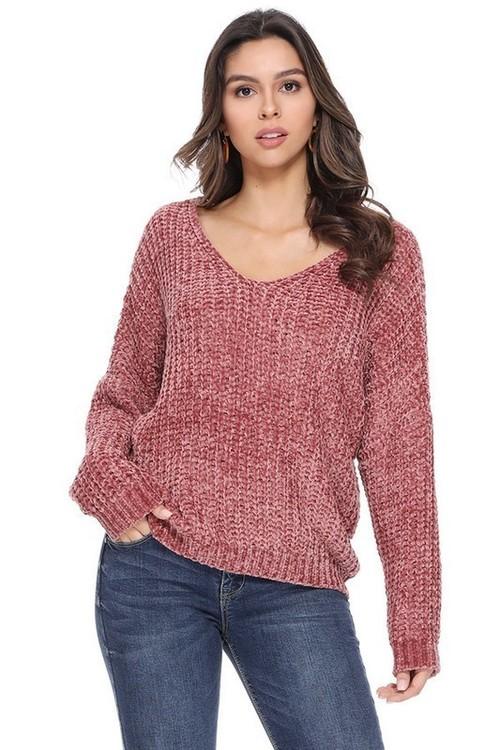 Rose Rust V Neck Sweater