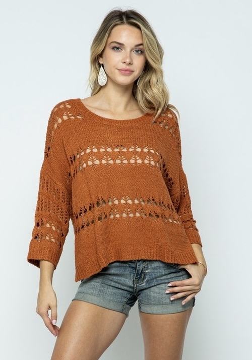 Open Crochet Knit Sweater