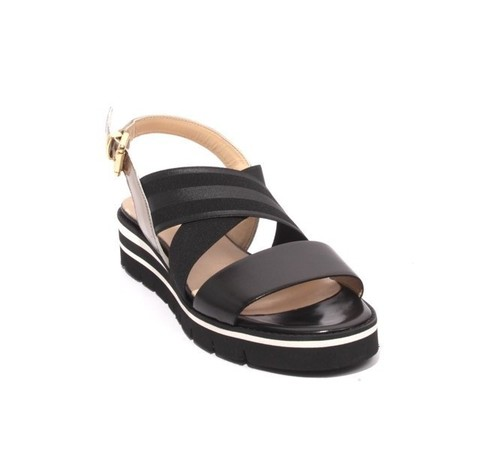 Black Bronze Leather Elastic Platform Sandals