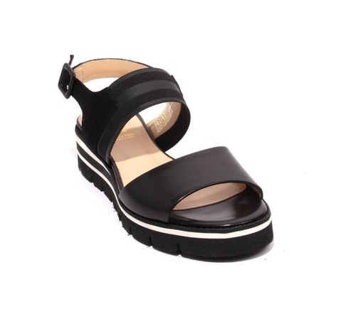 Black Leather Suede Elastic Platform Sandals