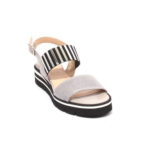 Gray Black Suede Leather Elastic Platform Sandals