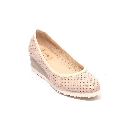Beige Perforated Leather Patent / Wedge Pumps