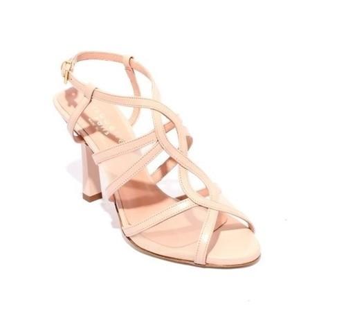 Beige Pink Leather Mesh Strappy Heel Sandals