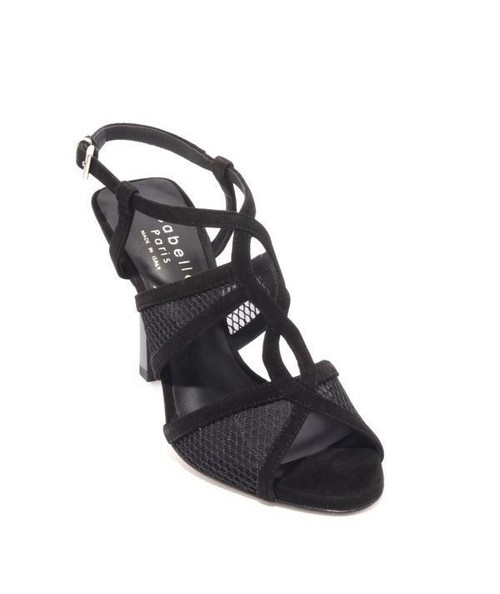 Black Suede Leather Mesh Strappy Heel Sandals