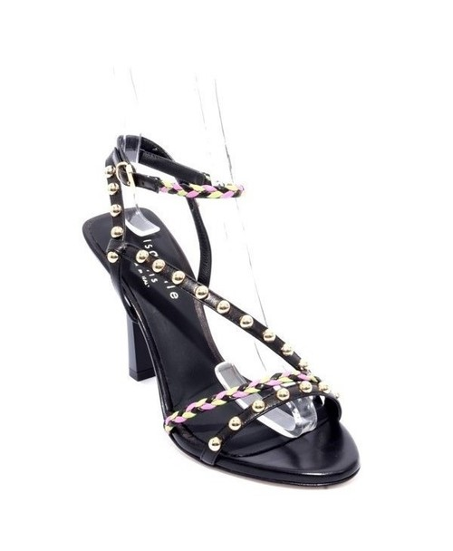 Multicolor Leather Studded Ankle Strap Heel Sandals