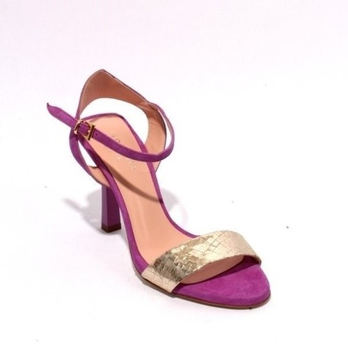 Purple Gold / Suede Leather Ankle Strap Heel Sandals